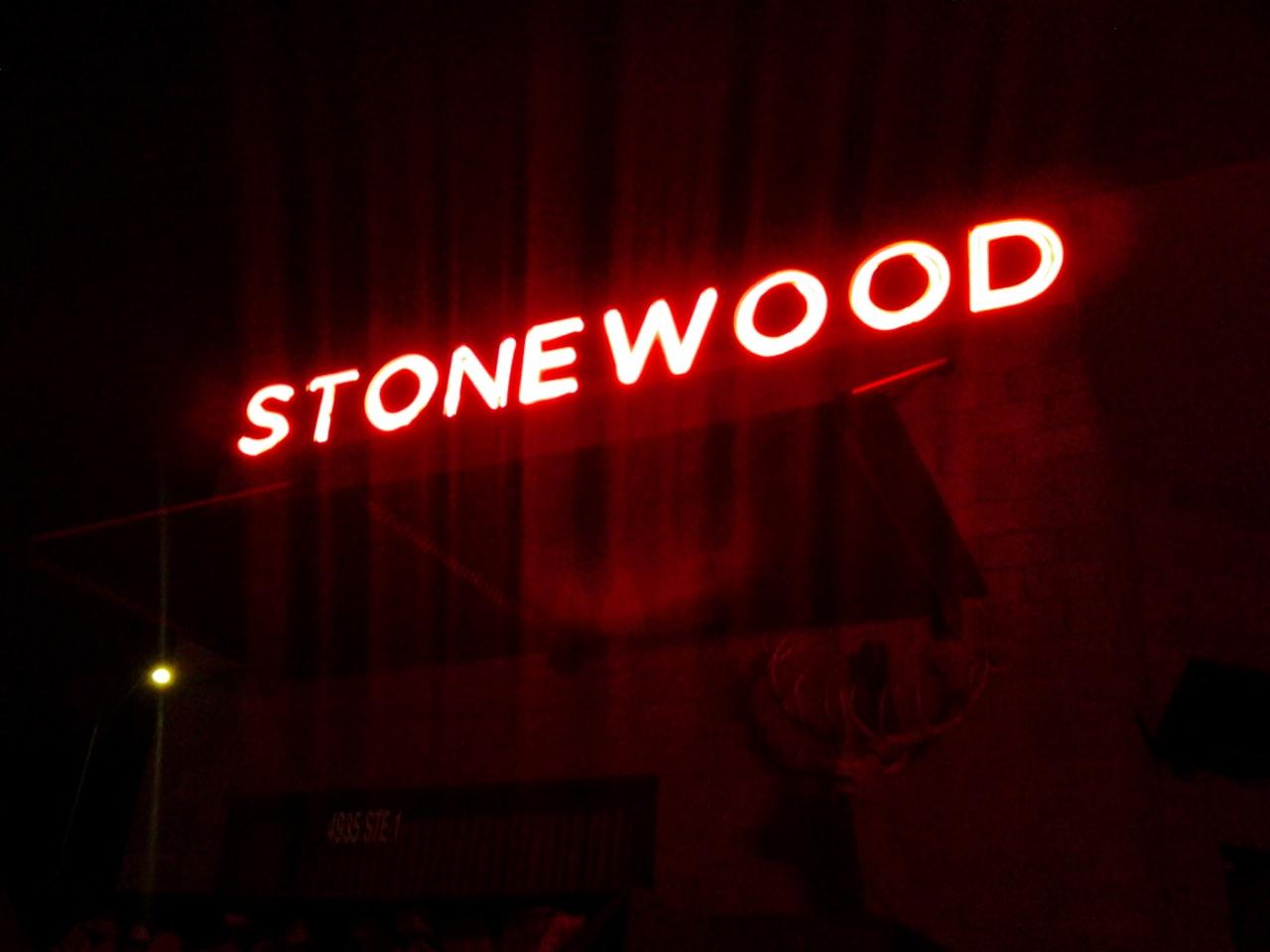 Stonewood. a  nice restaurant with a  spacious upstairs room for private events.  Inside