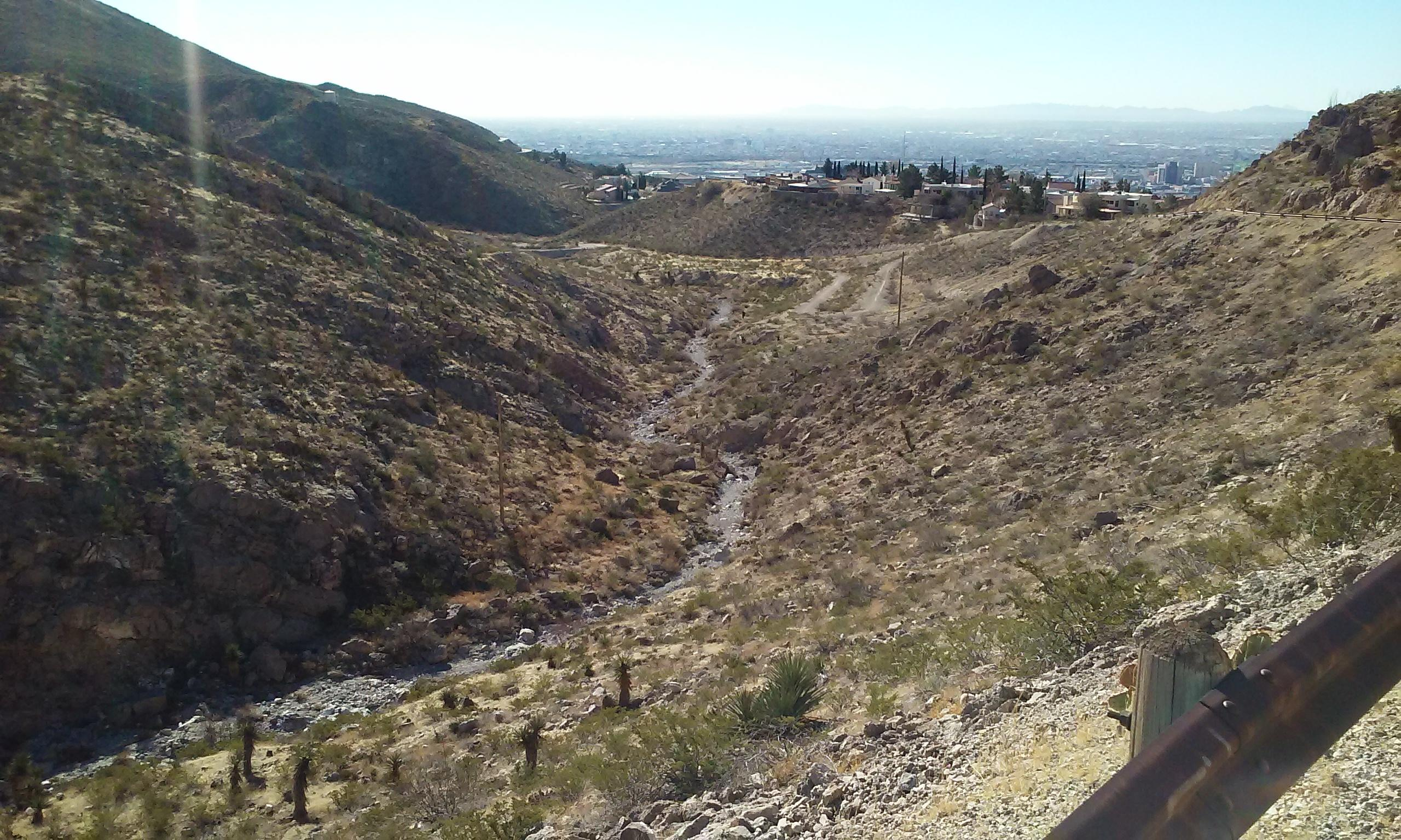 Palisades trail. View of downtown El Paso.