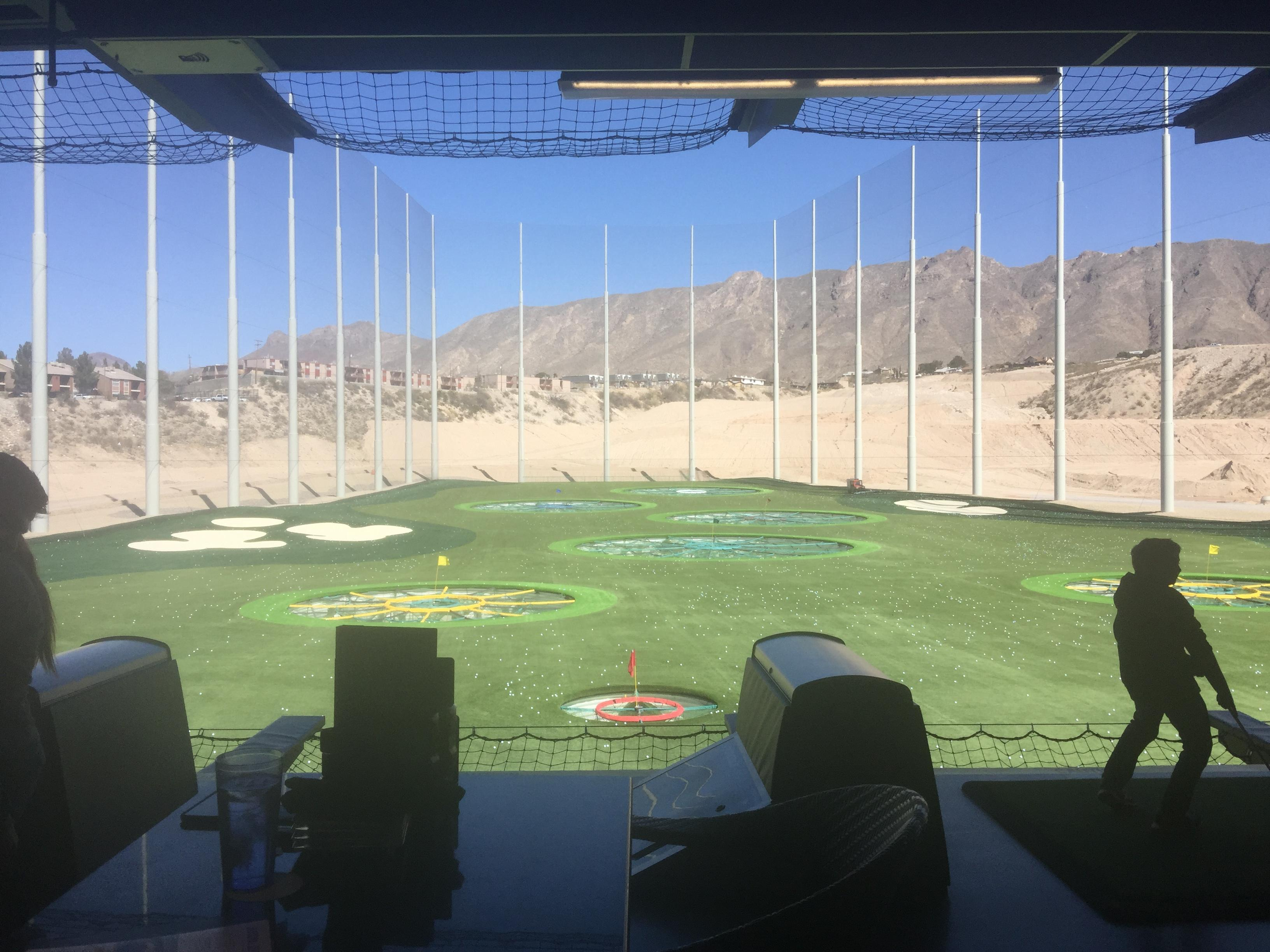 Top Golf El Paso restaurant and driving range. $35 per hour for the bays. 2018.