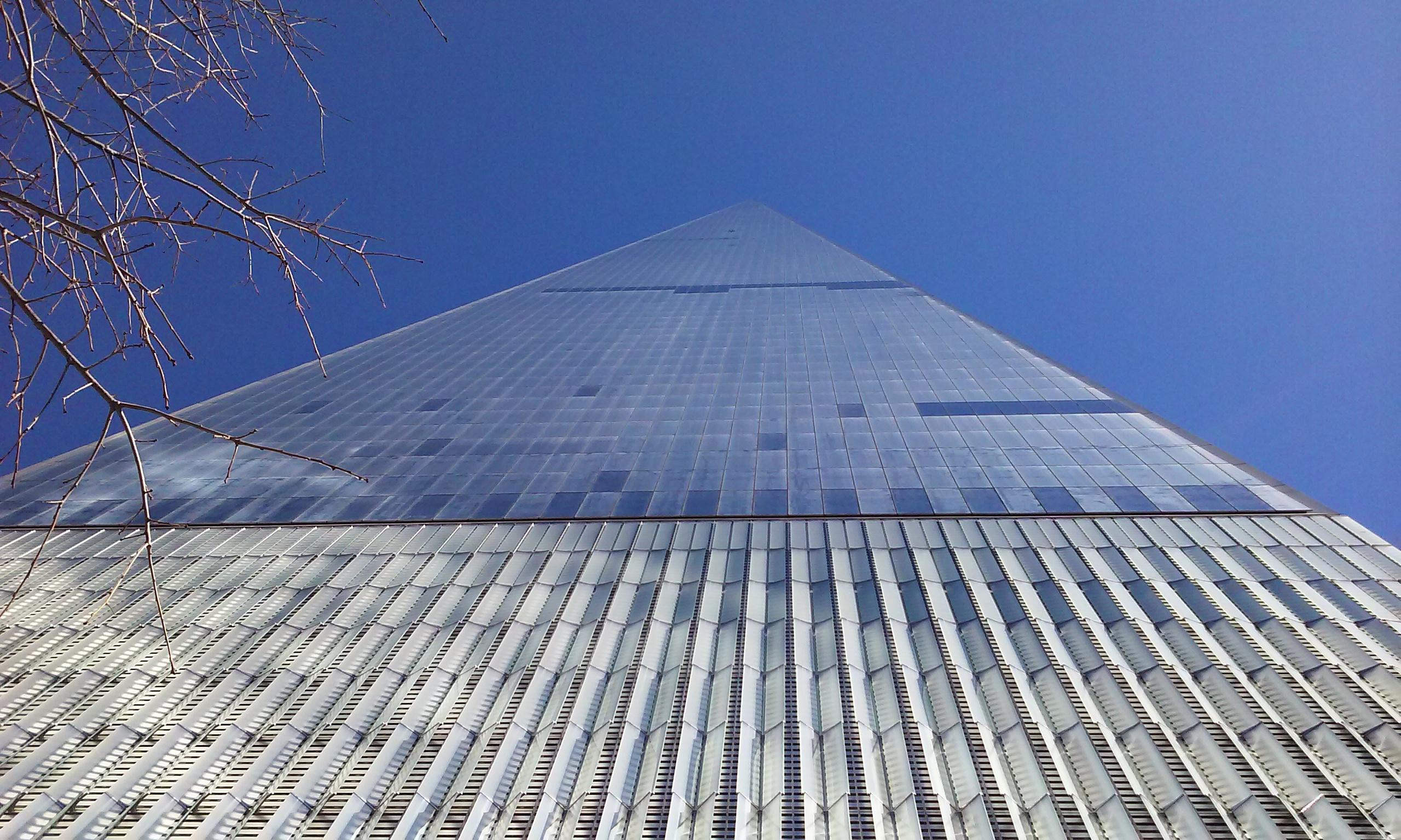 World Trade Center. Looking up the building tapers to a sharp point.
