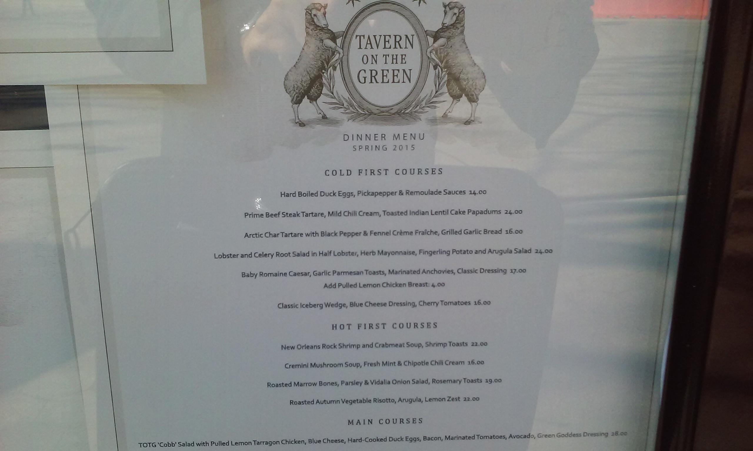 Tavern on the Green menu. Reasonable for Central Park.