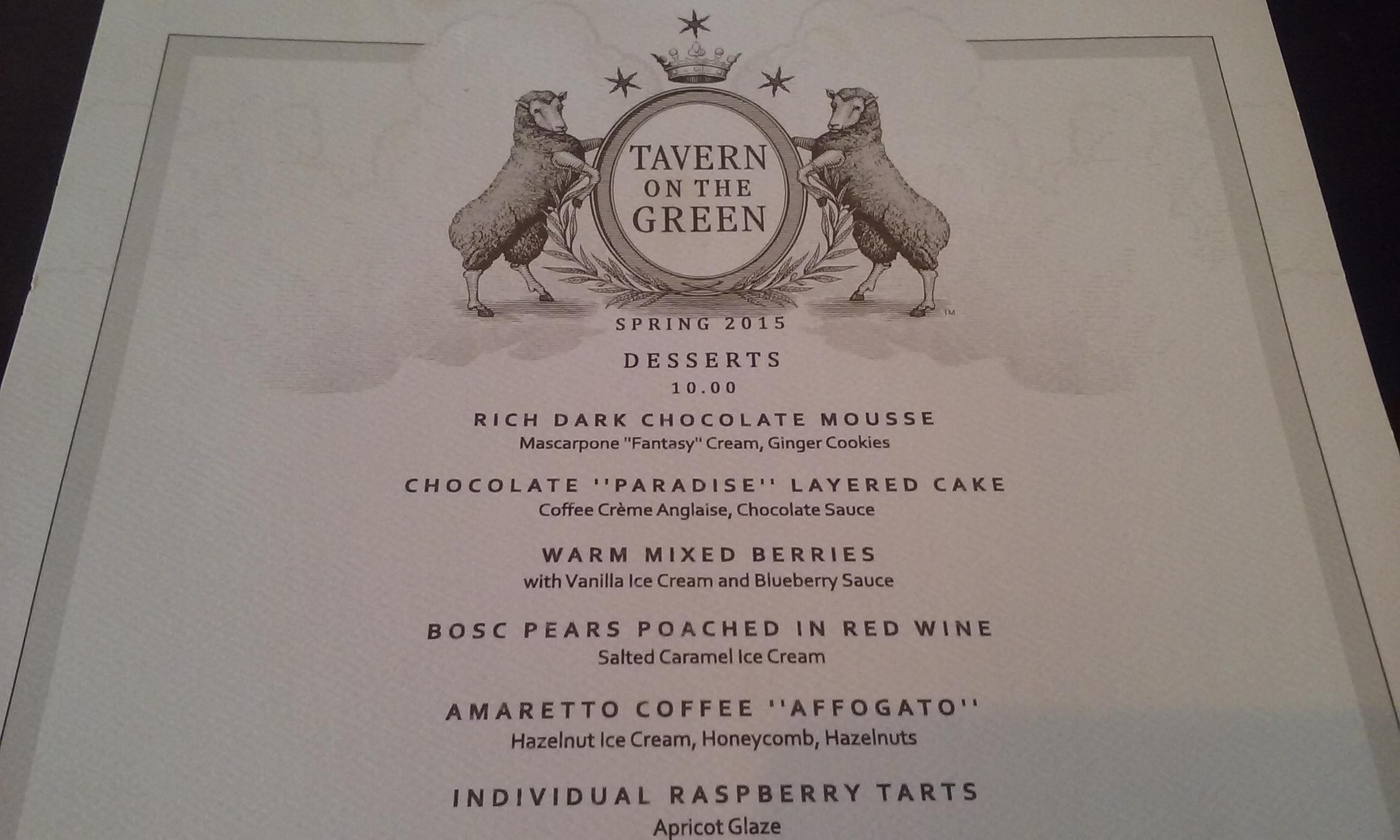 Tavern on the Green Dessert Menu