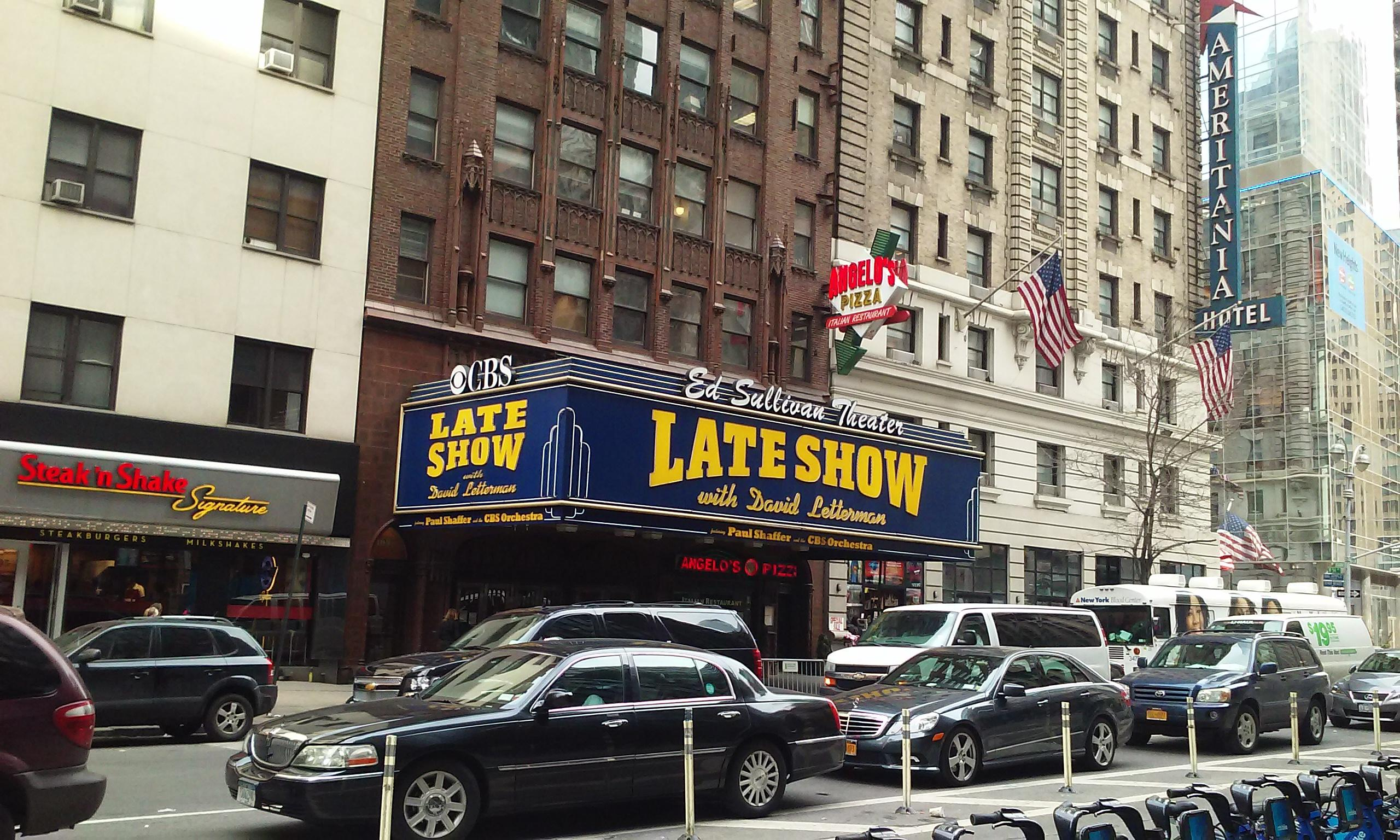 Ed Sullivan Theater Late Show with David Letterman. Right outside the e train subway stati