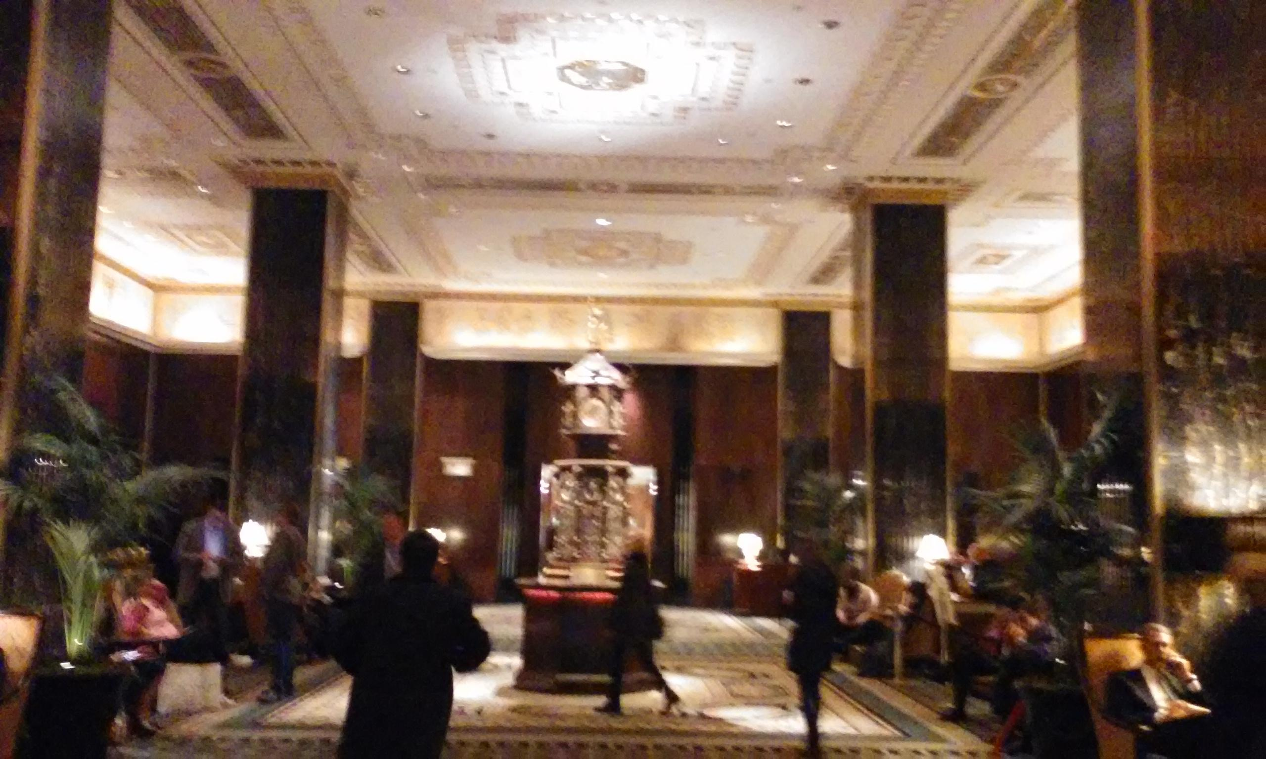 Waldorf Astoria lobby. Clock built in 1893 for Worlds Fair.