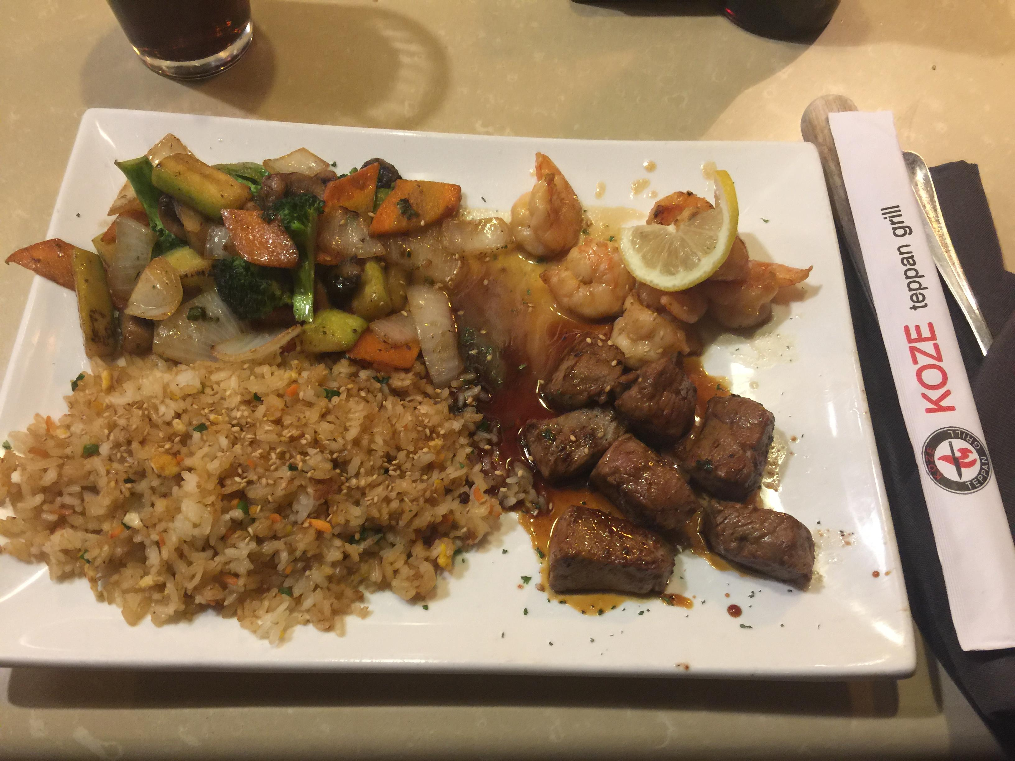 Steak and shrimp at Koze Teppan Grill #food El Paso