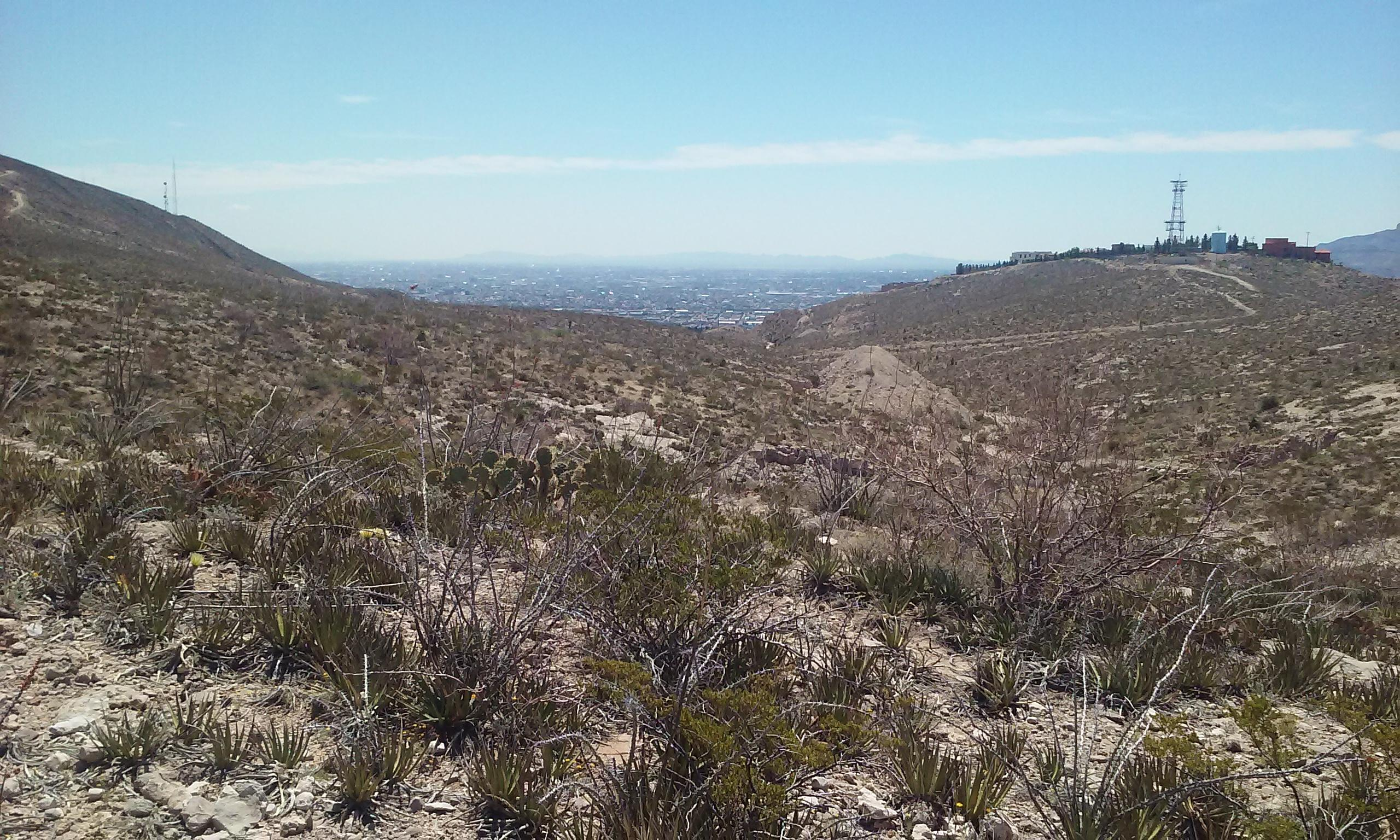 A view from the top looking at Juarez and El Paso. Worth the climb. Palisades Hiking Trail
