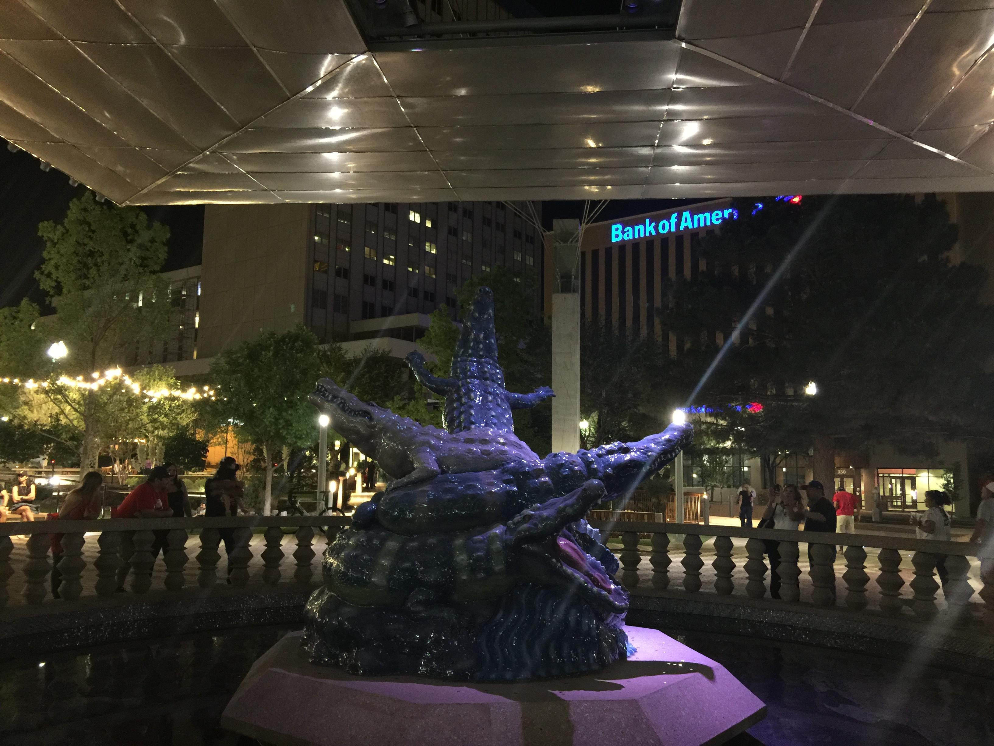 San Jacinto Plaza at night El Paso Alligator sculpture. Well designed plaza with plenty of