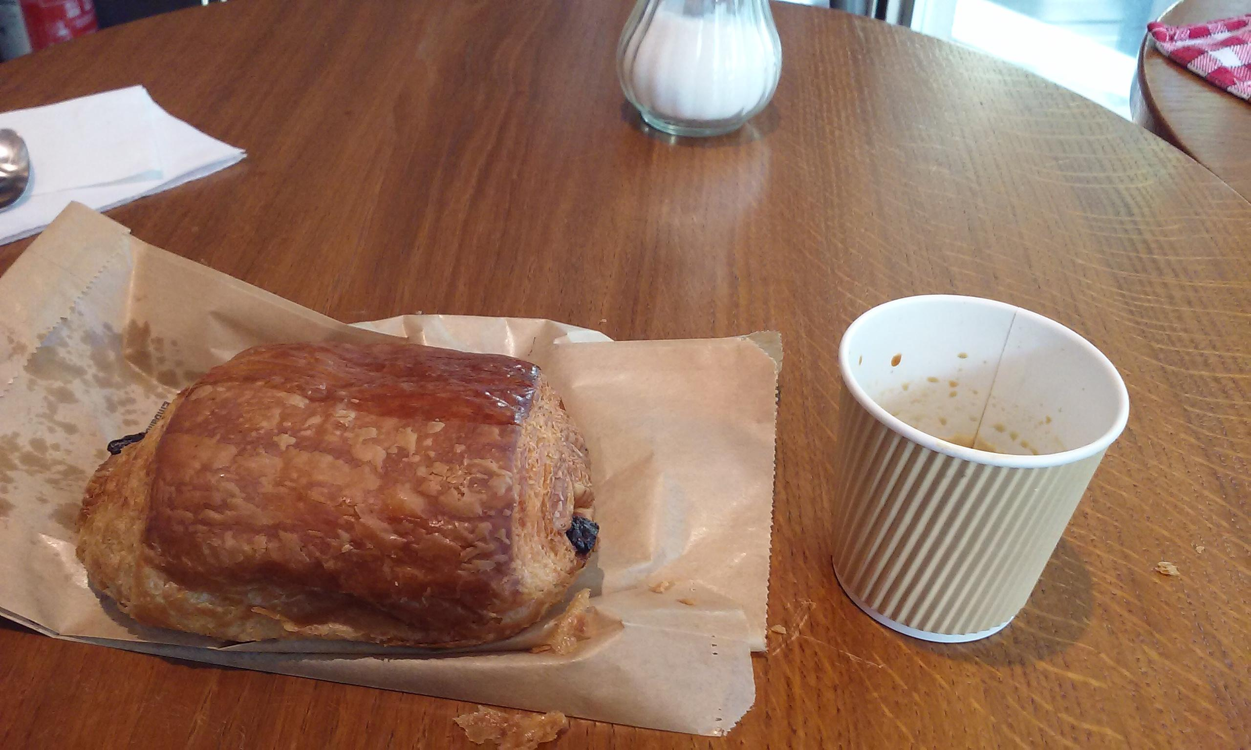 First breakfast in Paris. Chocolate pastry and small coffee at Aux Arts Etc. Across from N