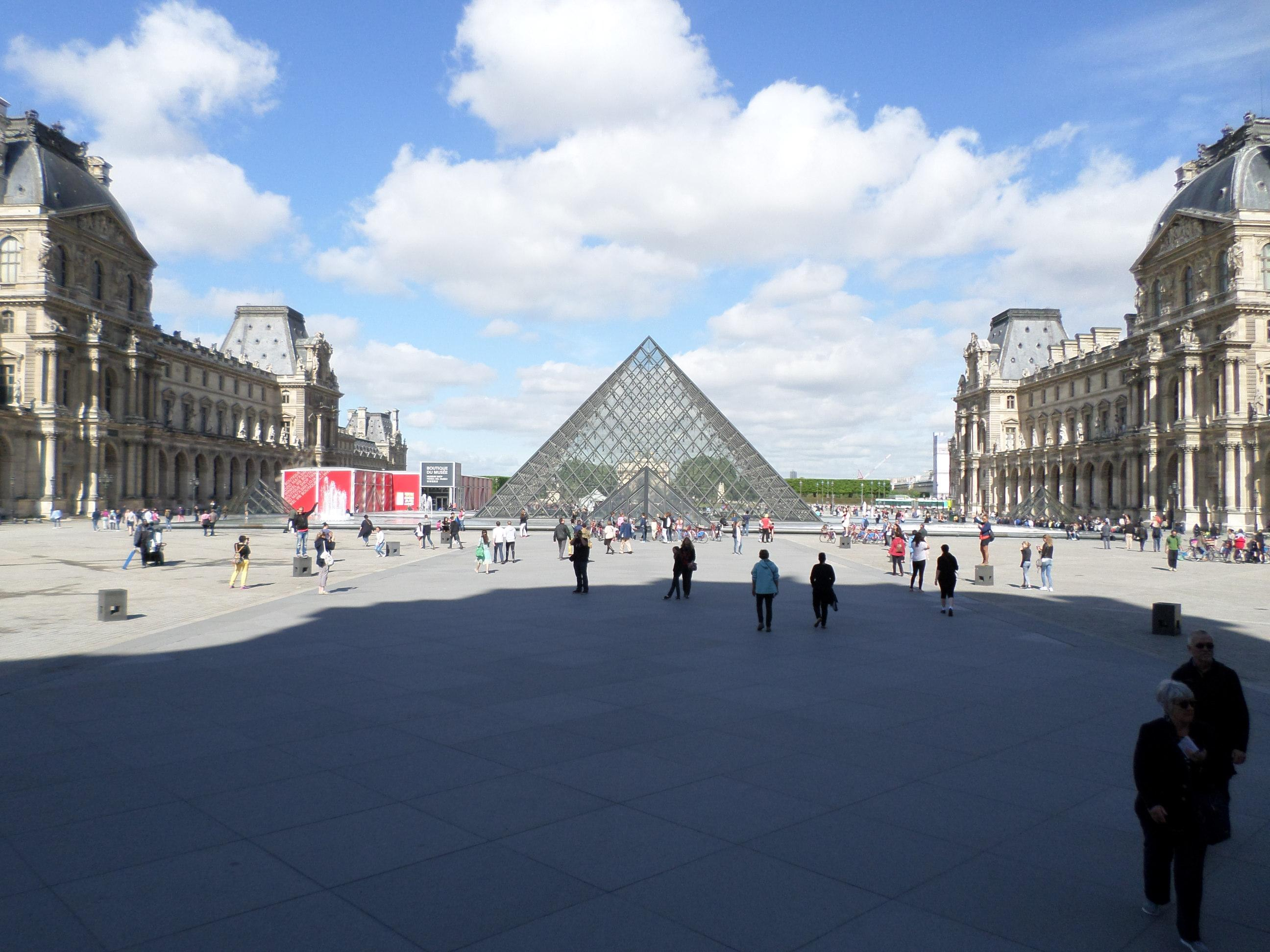 The square with the glass pyramid at the Louvre