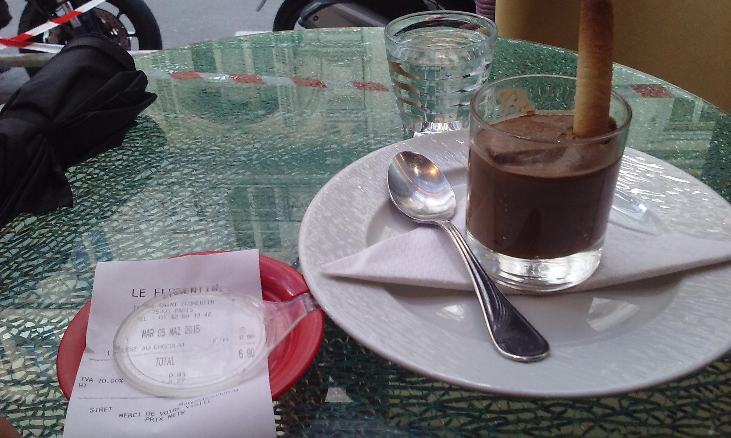 Mousse au chocolat at Le Florentin 7 euros. Light, better to try another place.