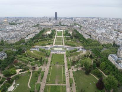 The view from the Eiffel Tower of the Champ de Mar. At the end of the Champ de Mar is the