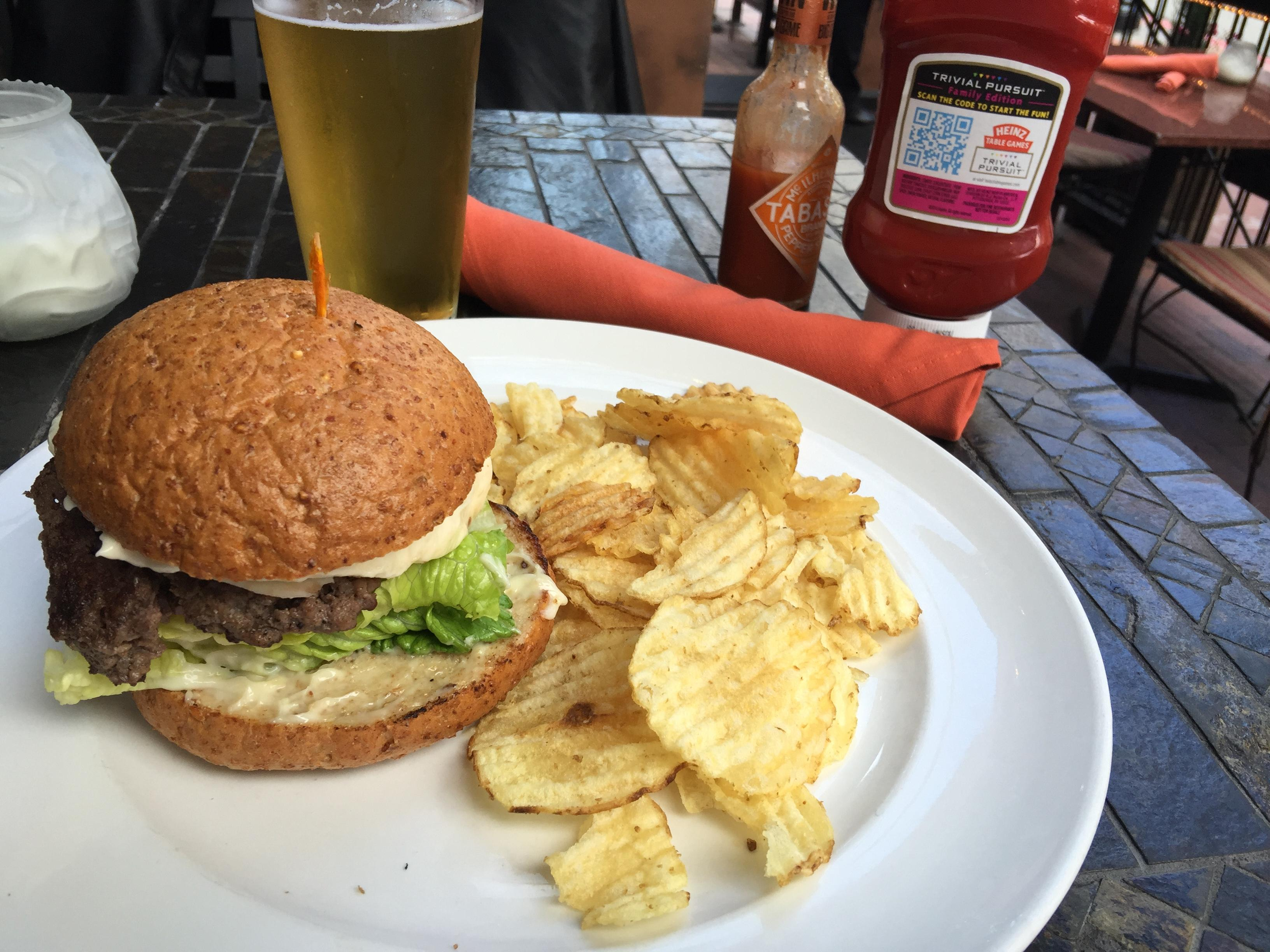 Burger and a beer for $10 at Toscana Cafe Gaslamp Quarter San Diego Happy Hour #food