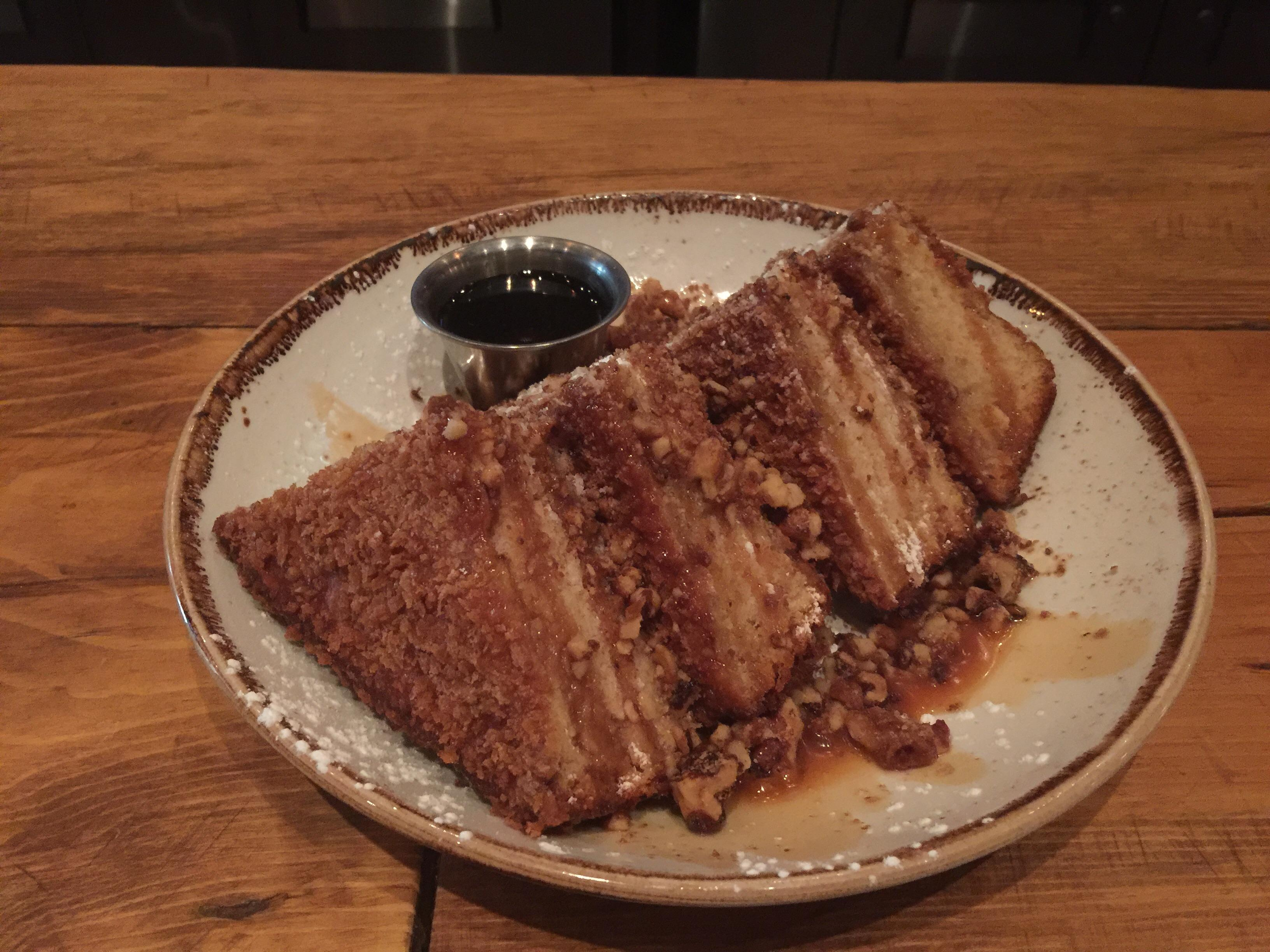 Crispy French toast at Stonewood #food $7 large slices topped with pecans