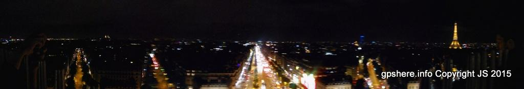 A panoramic photo from the top of the Arc de Triomphe.