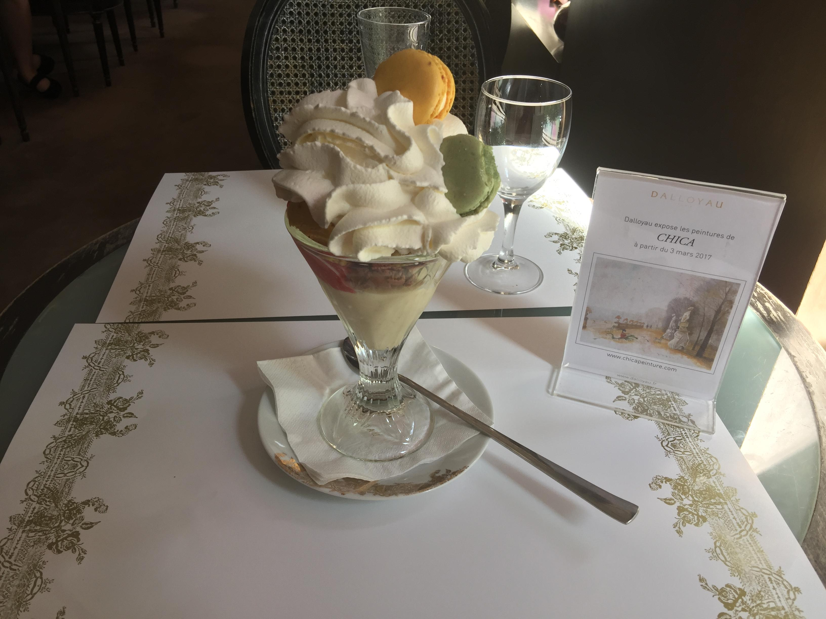 Dallayou cafe upstairs. The best ice cream in Paris. Read about the history of the place i