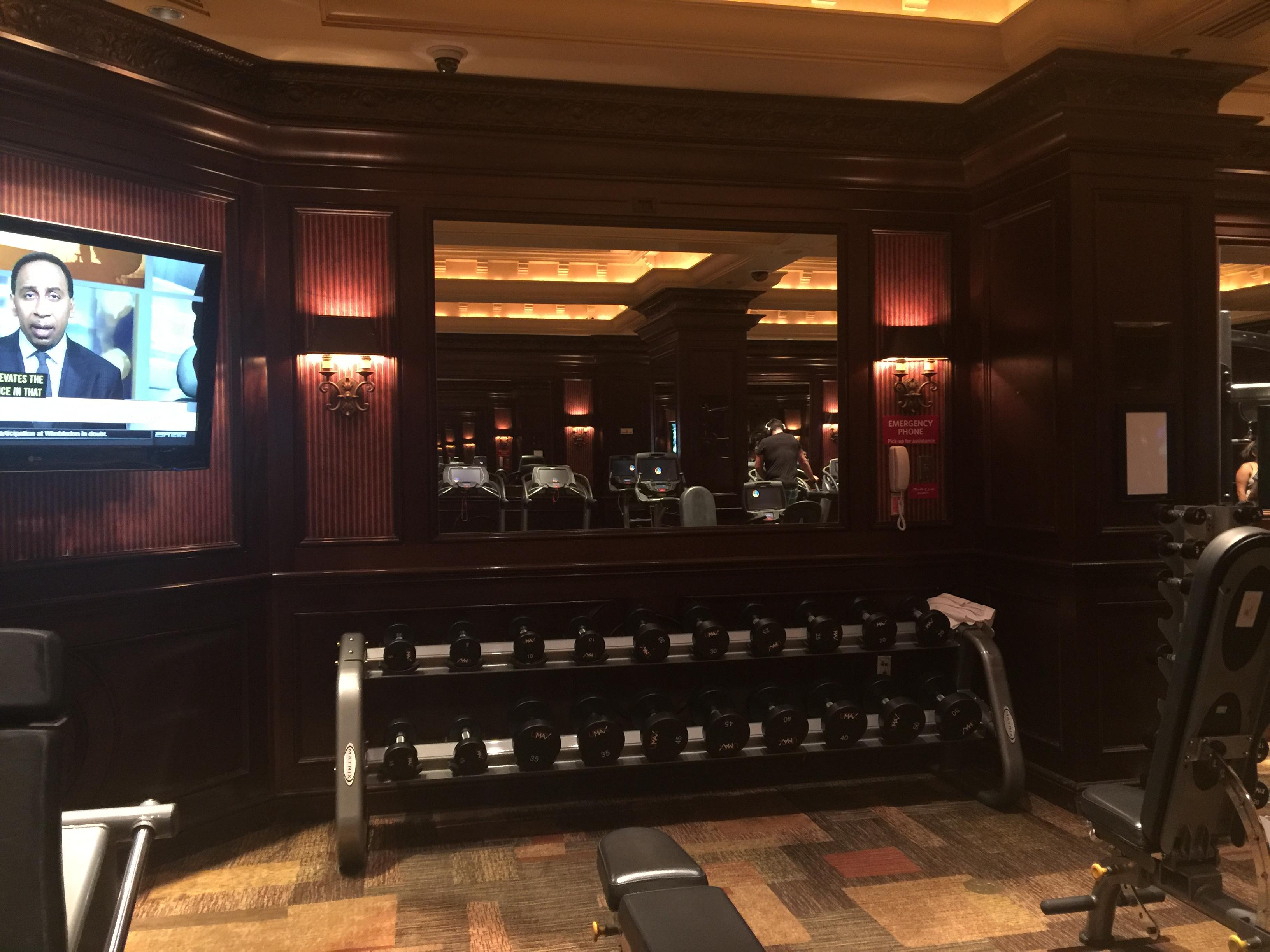 Gym at the Monte Carlo Casino first floor by sports book. Las Vegas
