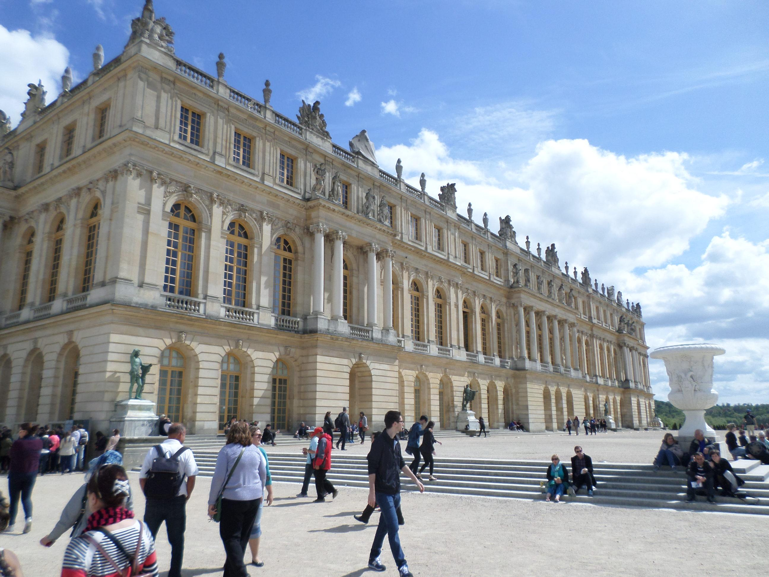 The back of Versailles Palace. The train ride out of Paris to Versailles takes about 40 mi