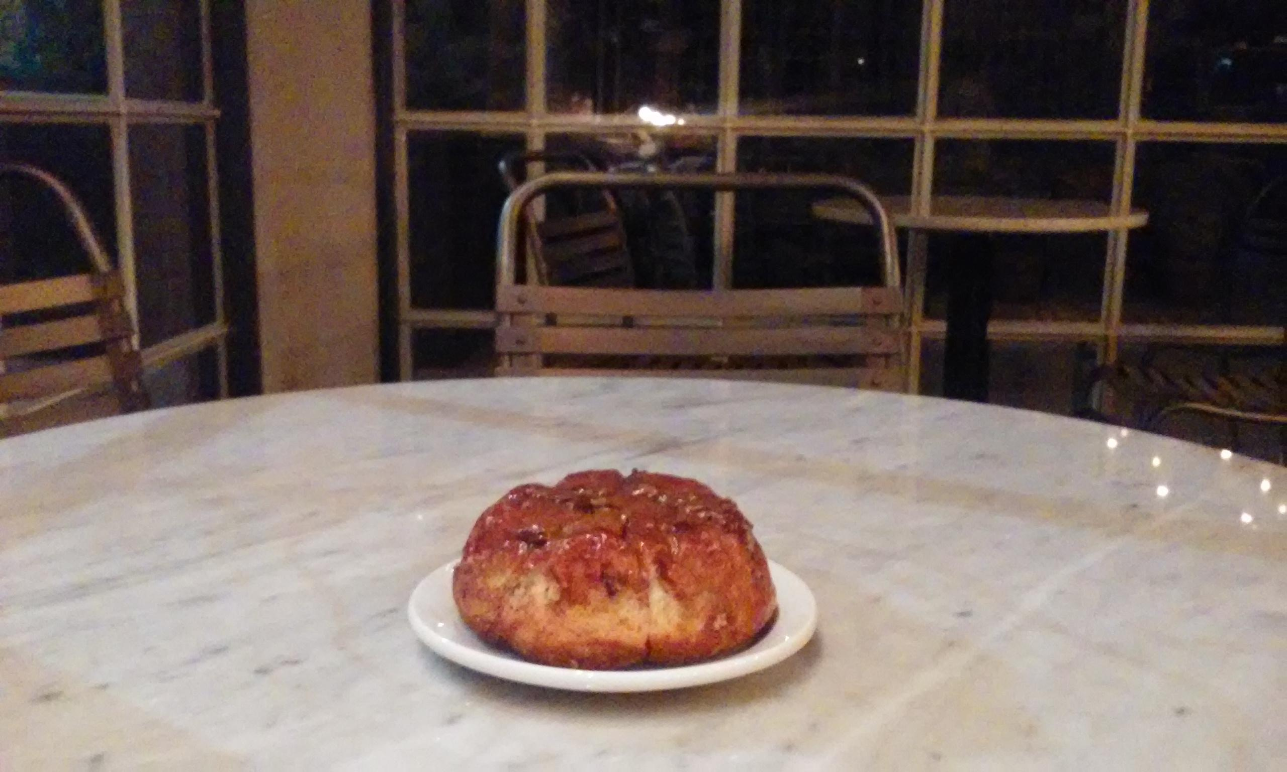 Sticky bun at Hillside Coffee $1.08. The right amount of sweetness. Would go well with a m