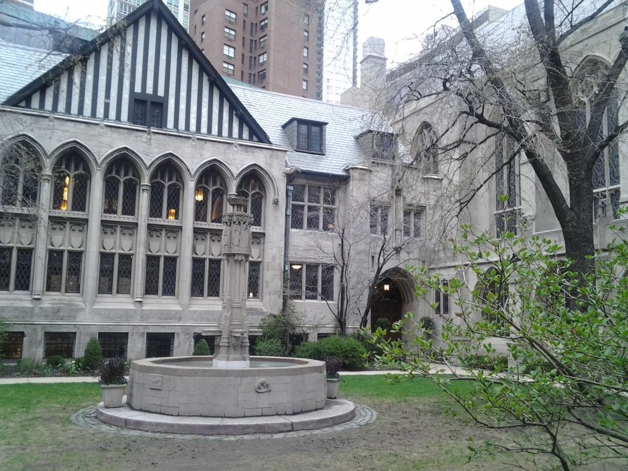 Church courtyard across from the John Hancock tower