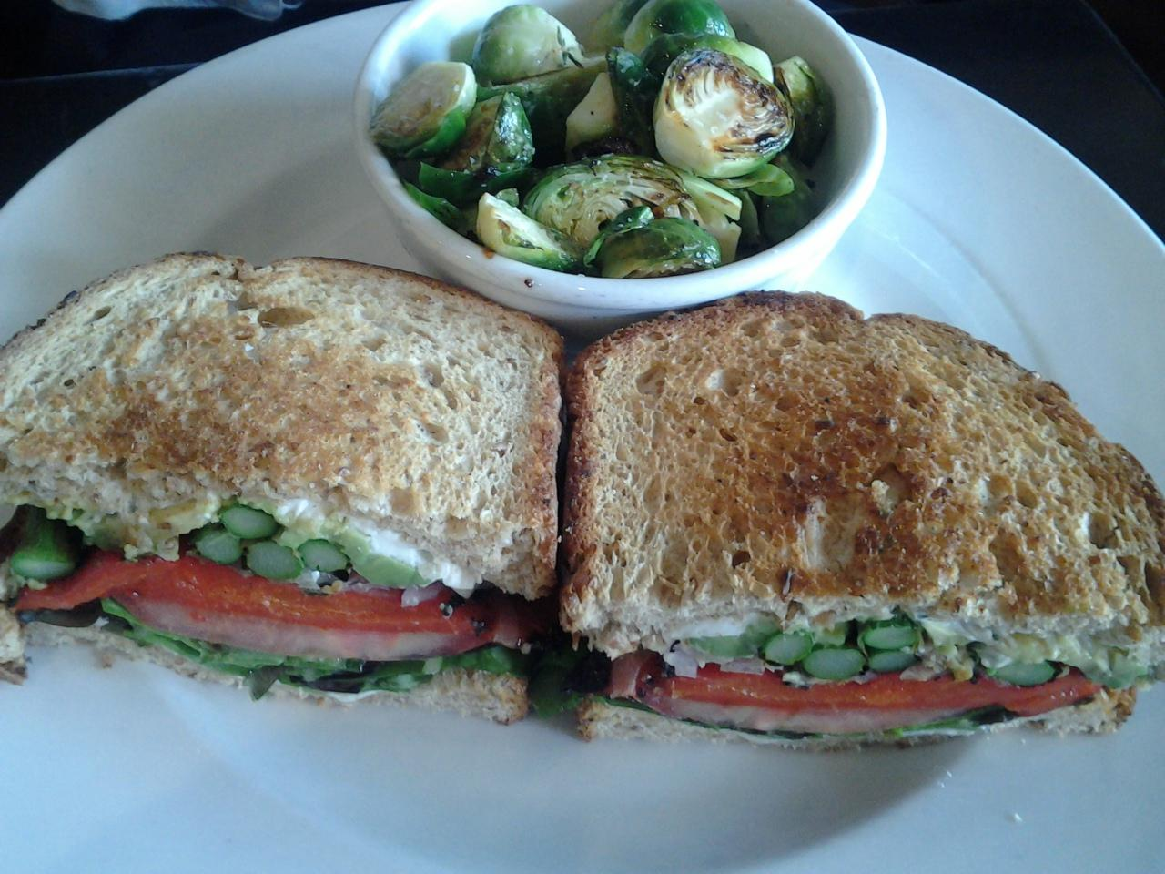 Crave #food veggie sandwich with asparagus. Brussels sprouts on the side $9