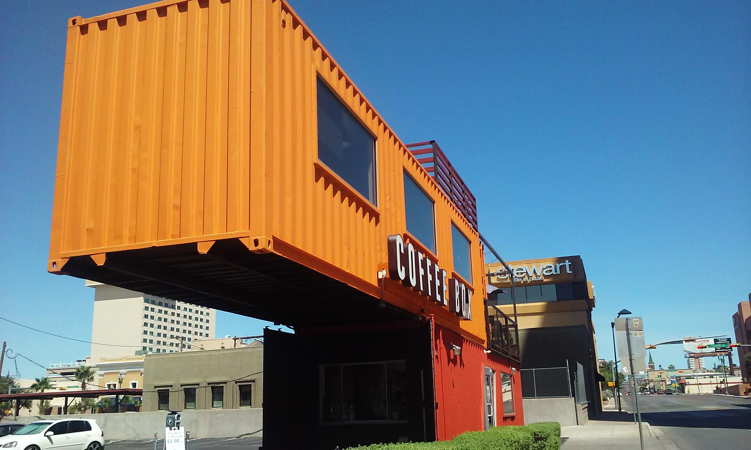 Coffee Box in downtown El Paso. Free WiFi. Outdoor second floor patio. Paid parking. Excel