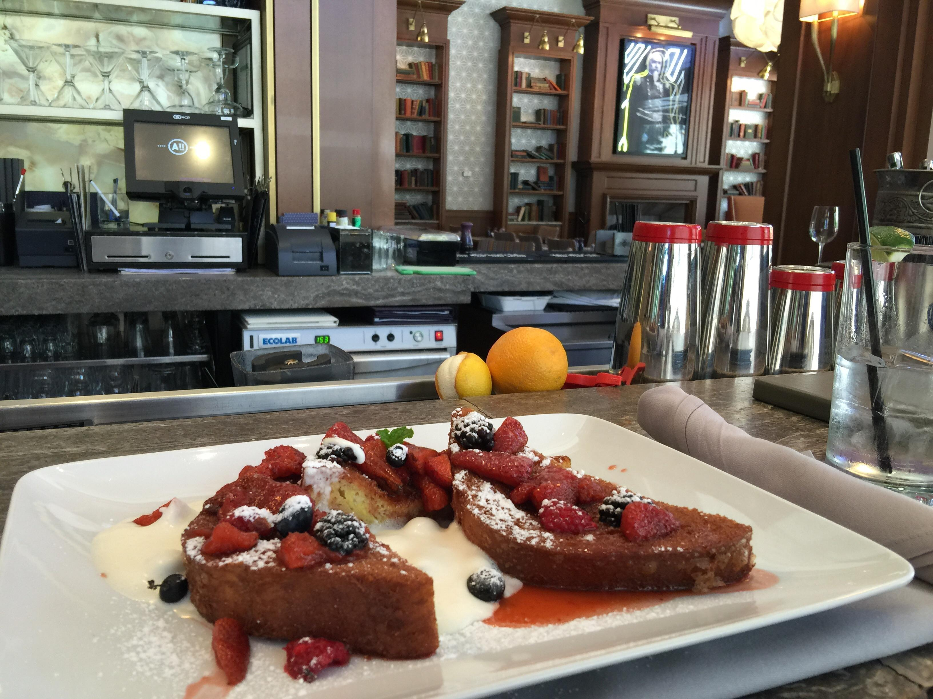 French toast at Anson 11. Crispy served with Chantilly cream and fresh berries. #food $10