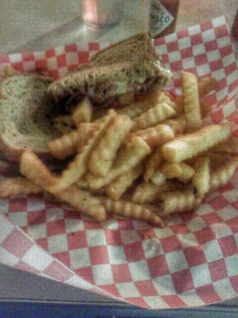 Chicago street #food pastrami sandwich. Small but tasty. Crispy fries.