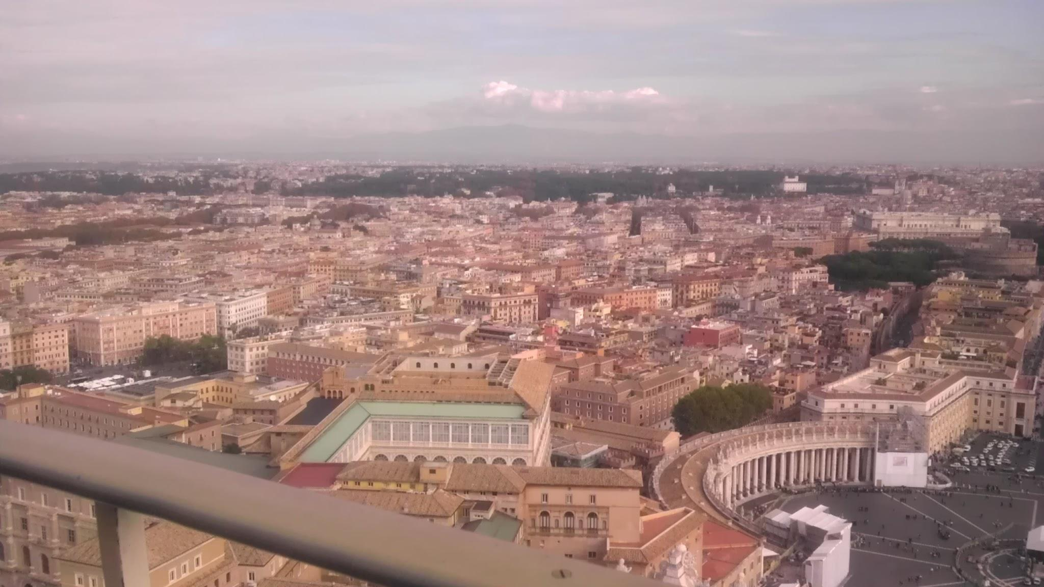 The view of Rome from the dome of Saint Peter's Basilica. The view to the left of the