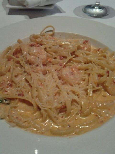 Caron pasta at Garufas. Fettucinne with shrimp, sun dried tomatoes, and rich cream sauce.