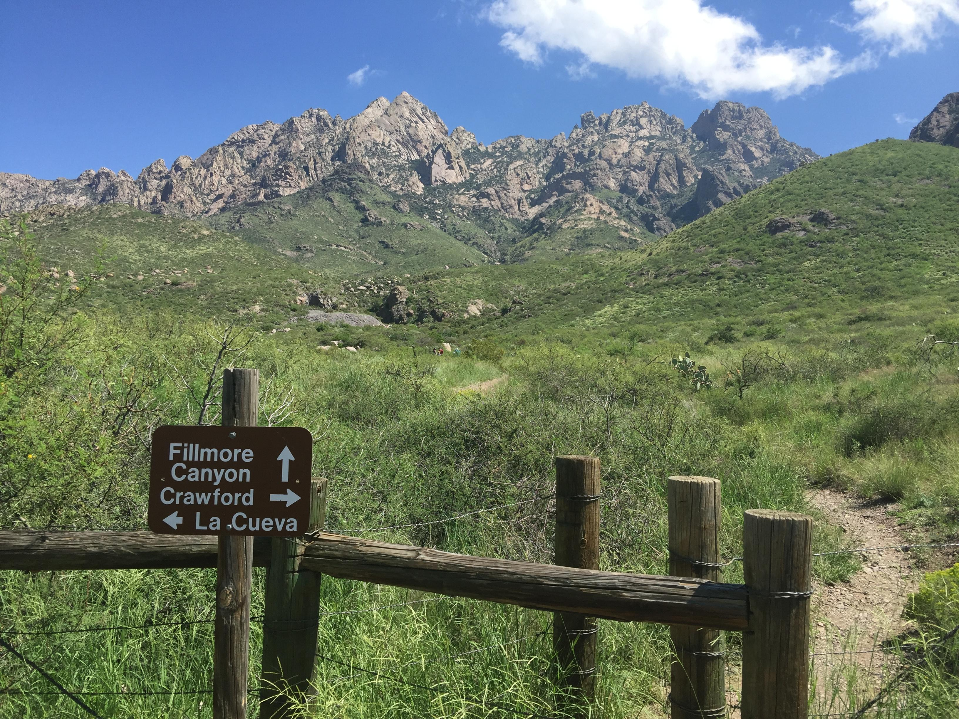 OpenNote: Sign post for La Cueva, Crawford, and Fillmore Canyon