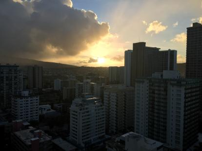 Sunrise over the mountains near Waikiki from the balcony of the Hyatt