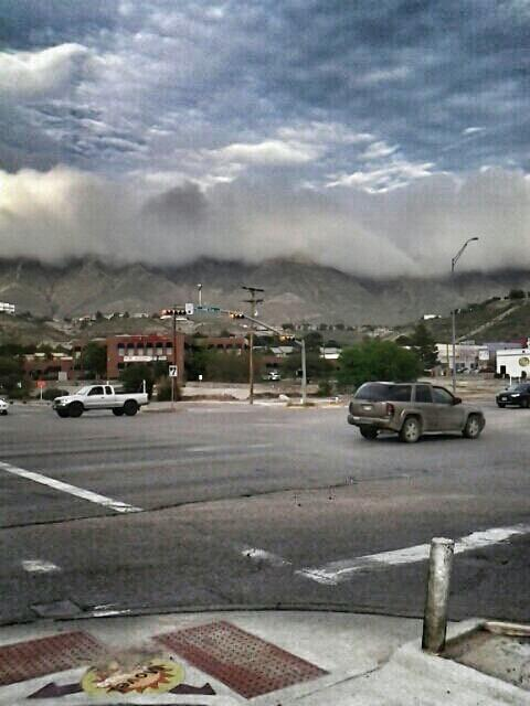 Clouds on the mountains in El Paso