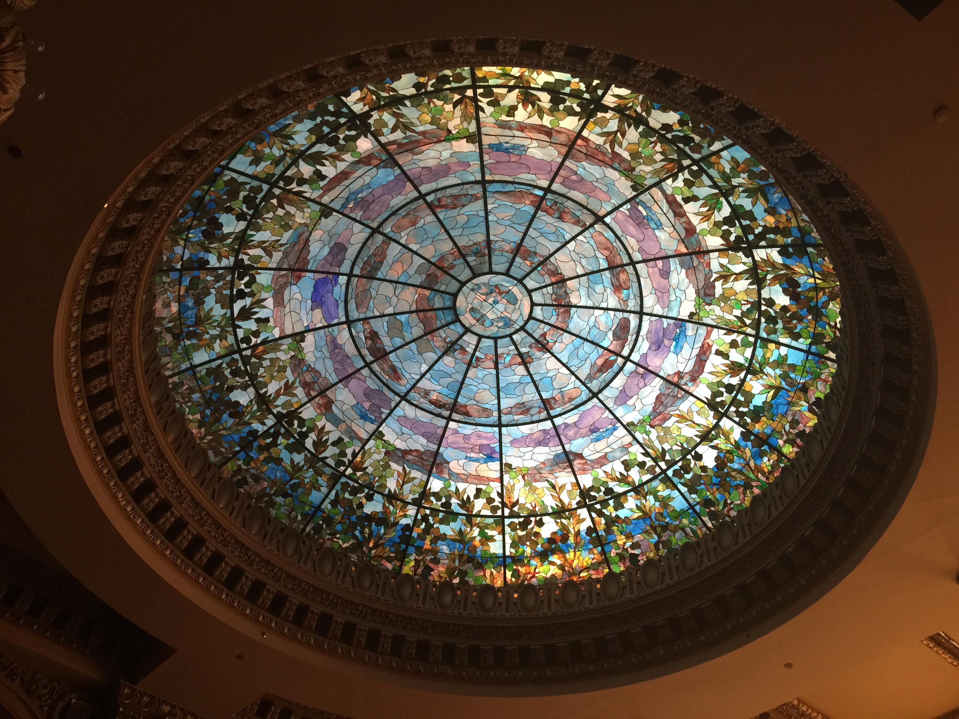 Camino Real Hotel in El Paso. A photo of the glasswork above the restaurant on the first f