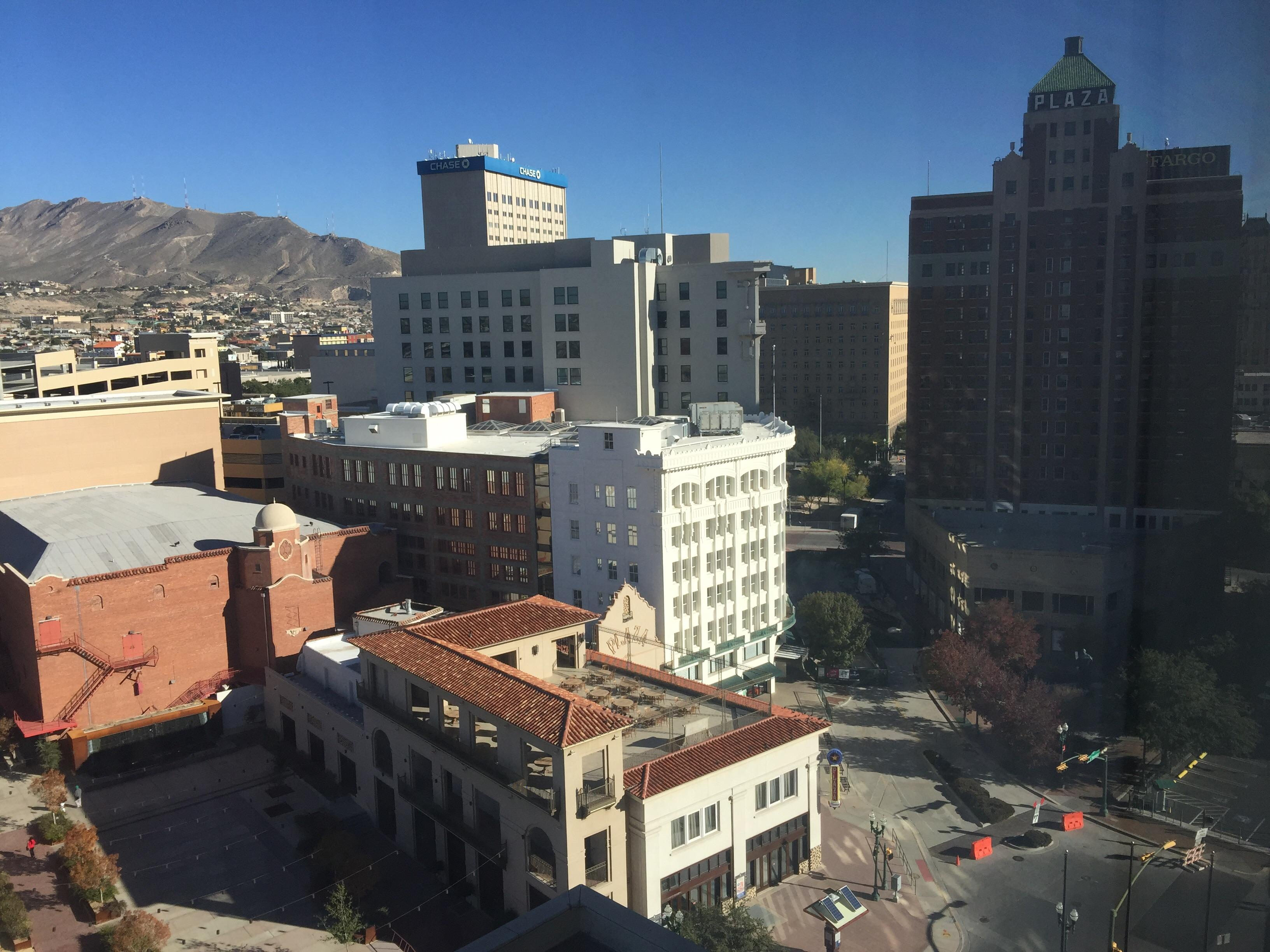 Franklin Mountains, Mills Building, and Plaza Theatre from the Camino Real Hotel in El Pas