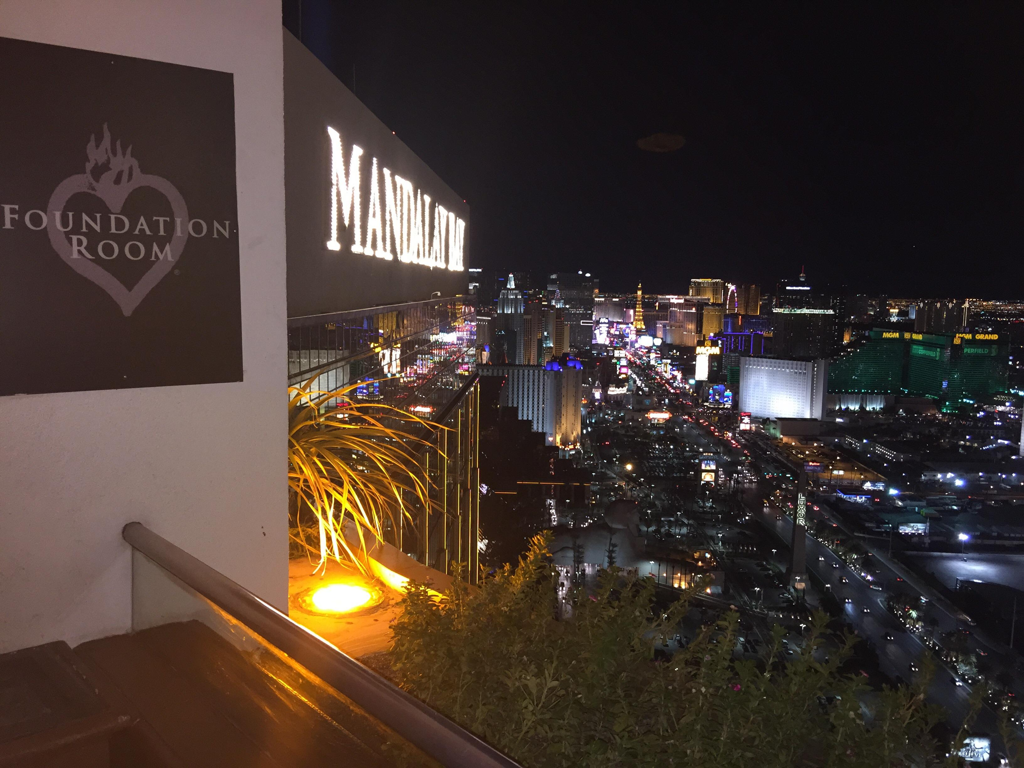 Foundation Room 63rd floor of Mandalay Bay. A great view of the Las Vegas Strip.