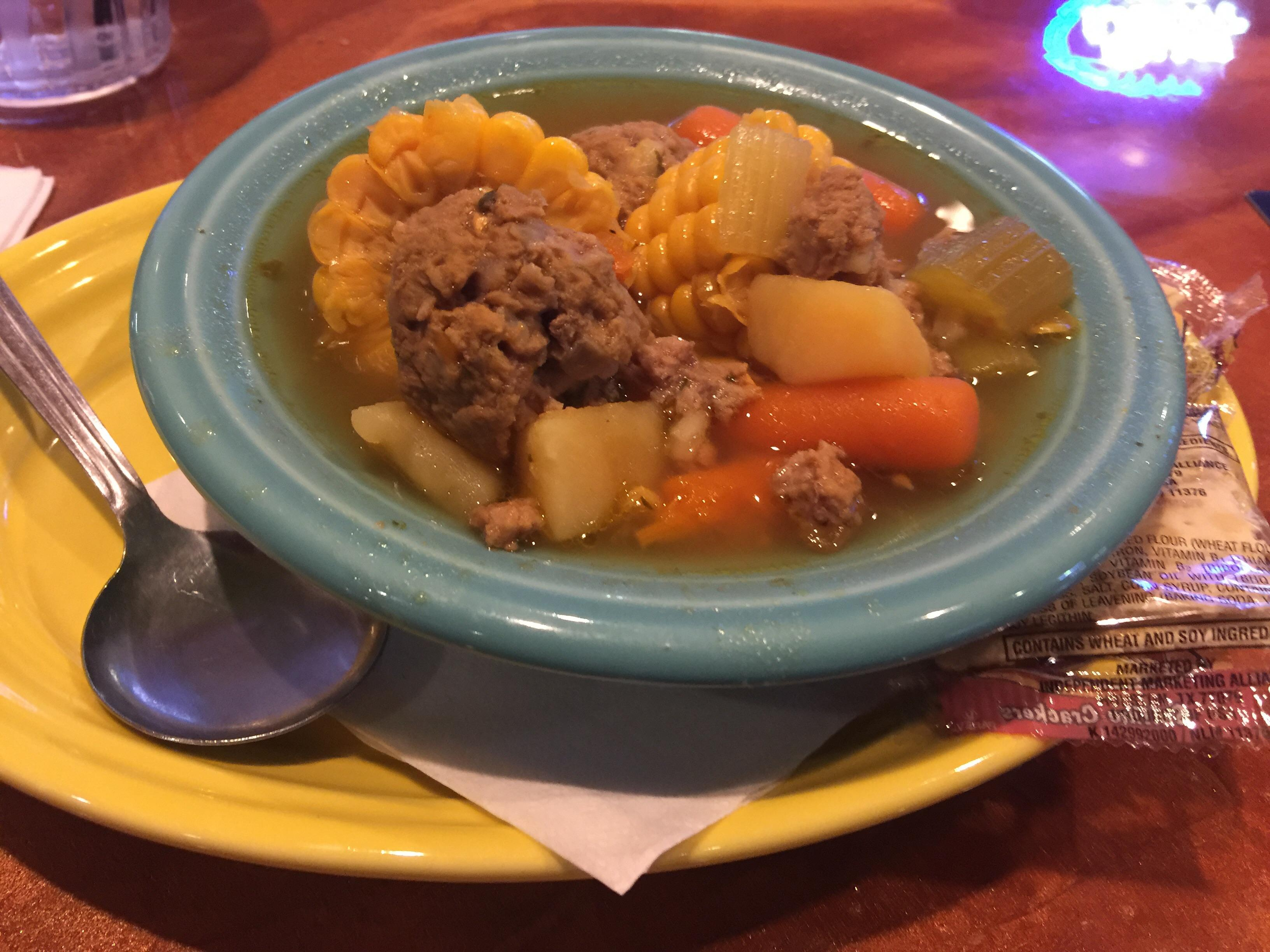 OpenNote: Angry Owl Albomdigas vegetables and meatball soup bowl $4 #food
