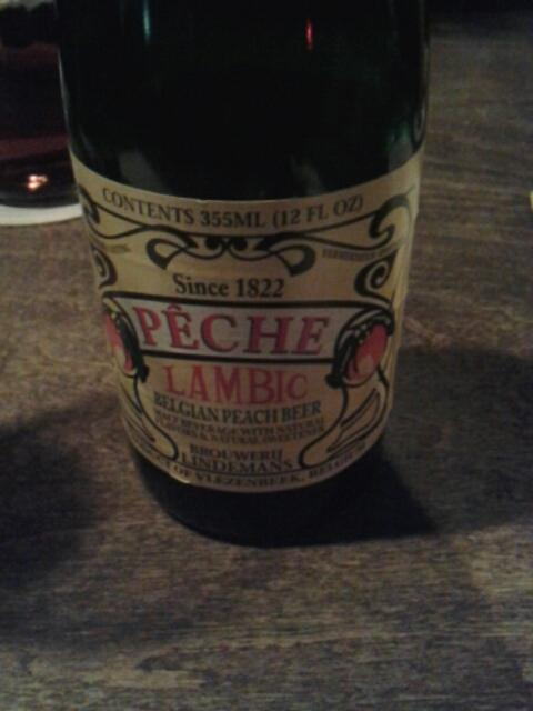 Peche  Lambic  beer at  Hoppy  Monk.  The sweetest beer ever with a  strong true flavor o