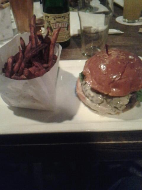 Blue  cheese burger at the Hoppy  Monk.  Excellent at medium well.  Served with crispy swe