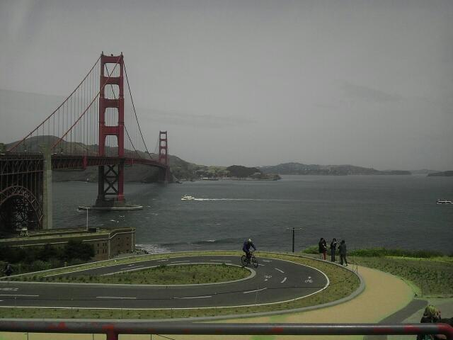 Golden Gate Bridge in San Francisco. Possible to get there with public transportation. Bus
